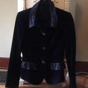 Burberry Navy Velvet Blazer w Black Satin Accents